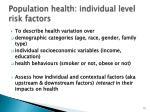 population health individual level risk factors