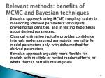 relevant methods benefits of mcmc and bayesian techniques