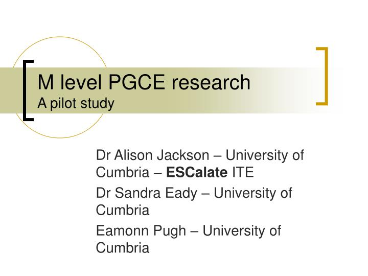 m level pgce research a pilot study n.