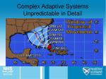 complex adaptive systems unpredictable in detail