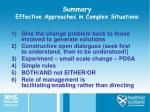 summary effective approaches in complex situations