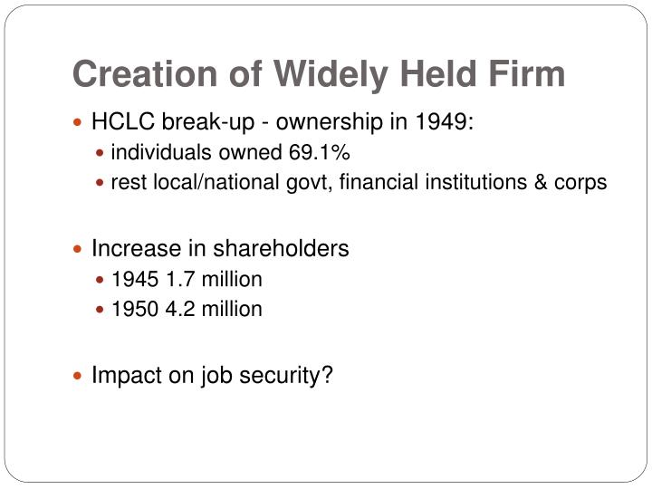 Creation of widely held firm