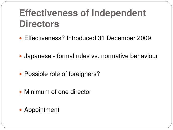 Effectiveness of Independent Directors