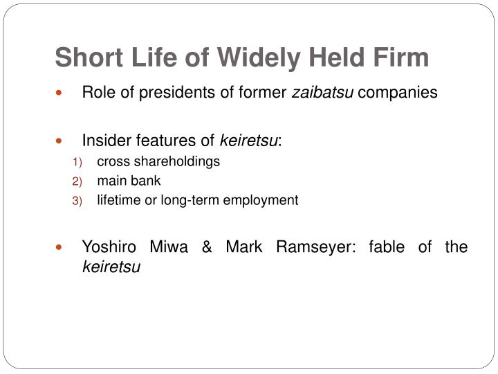 Short Life of Widely Held Firm
