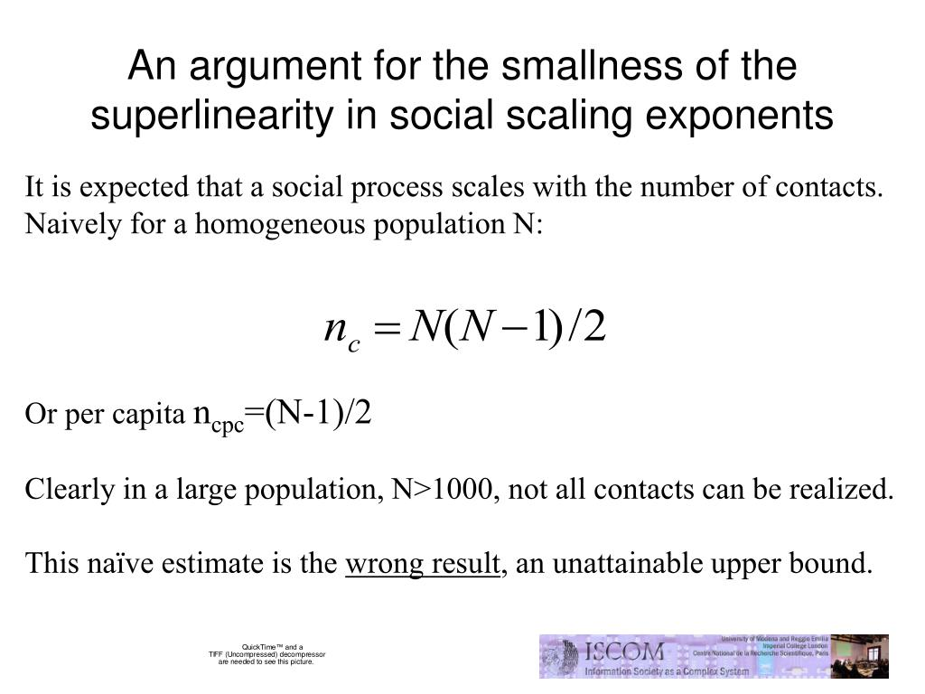 An argument for the smallness of the superlinearity in social scaling exponents