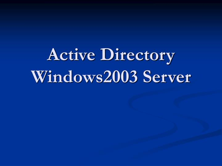 active directory windows2003 server n.