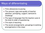 ways of differentiating