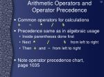arithmetic operators and operator precedence