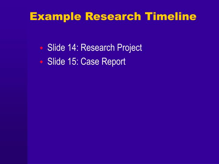 Example Research Timeline