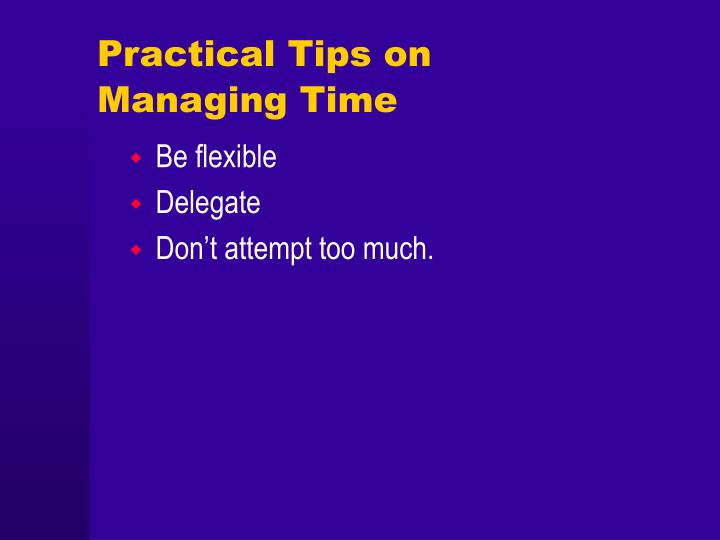 Practical Tips on