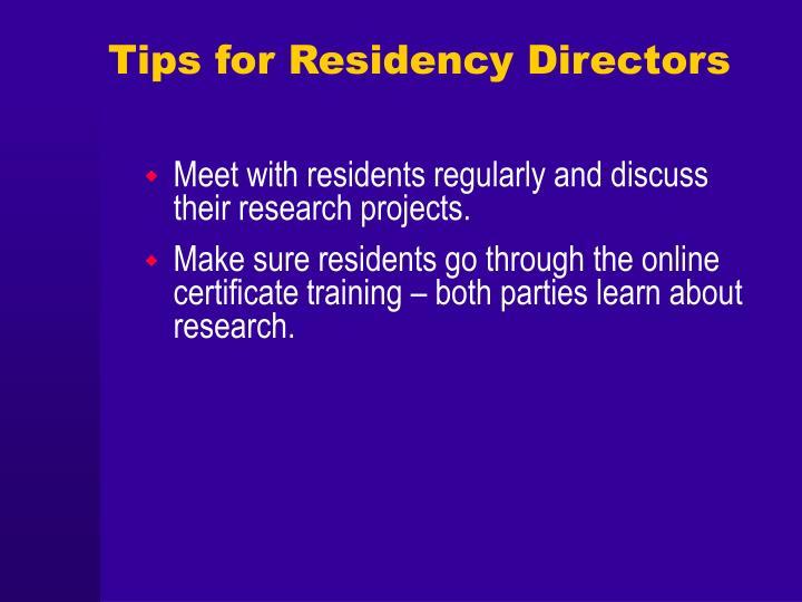Tips for Residency Directors