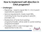 how to implement self direction in oaa programs