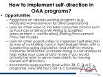 how to implement self direction in oaa programs1