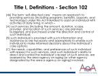 title i definitions section 102