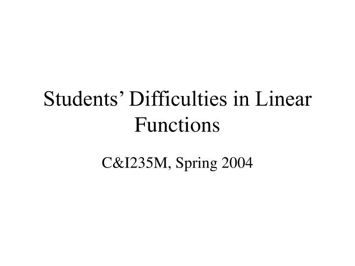 students difficulties in linear functions n.