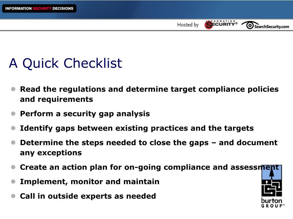 A Quick Checklist