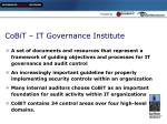 cobit it governance institute