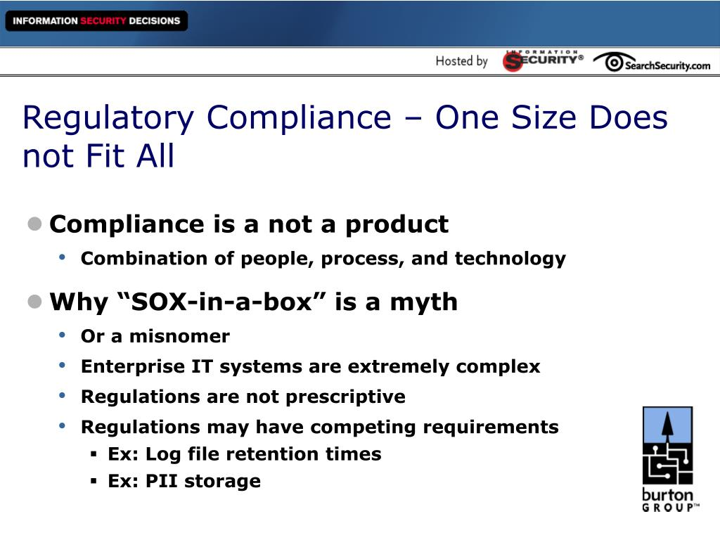 Regulatory Compliance – One Size Does not Fit All