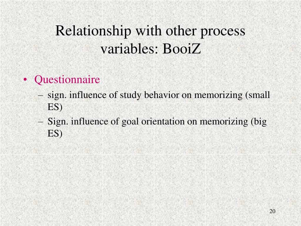 Relationship with other process variables: BooiZ