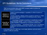 dti guidelines some definitions
