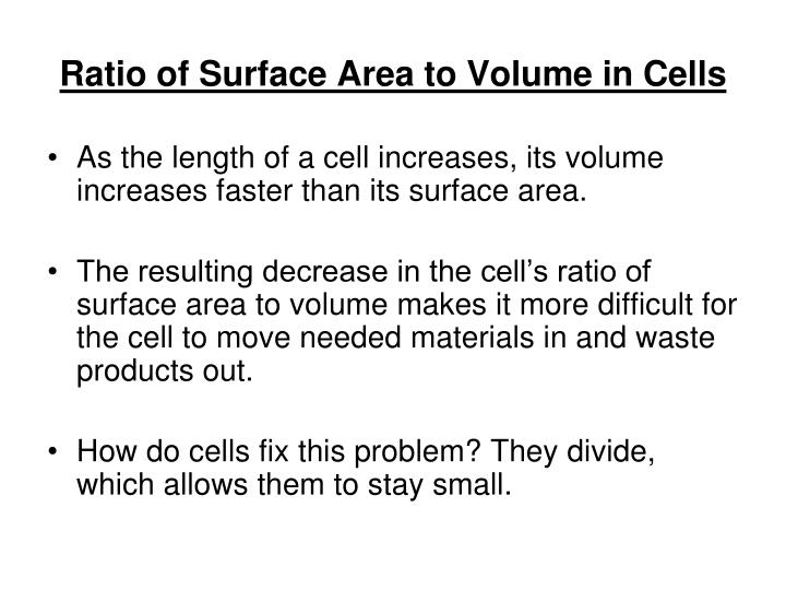 Ratio of Surface Area to Volume in Cells