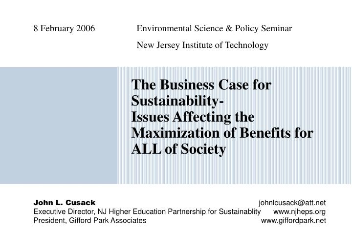8 february 2006 environmental science policy seminar new jersey institute of technology n.