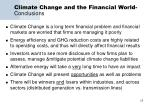 climate change and the financial world conclusions