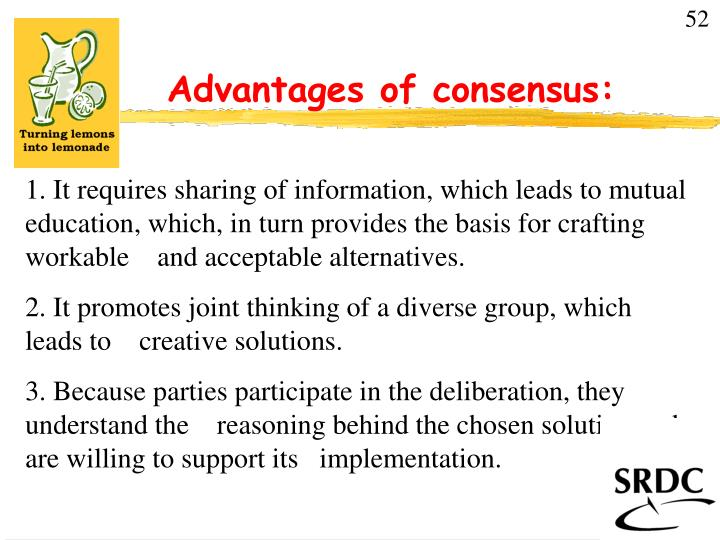 advantages of consensus n.