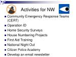 activities for nw