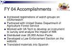 fy 04 accomplishments