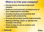what is in it for your company