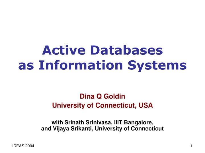 active databases as information systems n.
