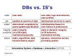 dbs vs is s