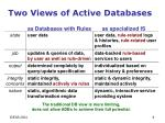 two views of active databases as databases with rules as specialized is