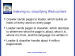 indexing vs classifying web content