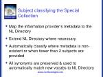 subject classifying the special collection