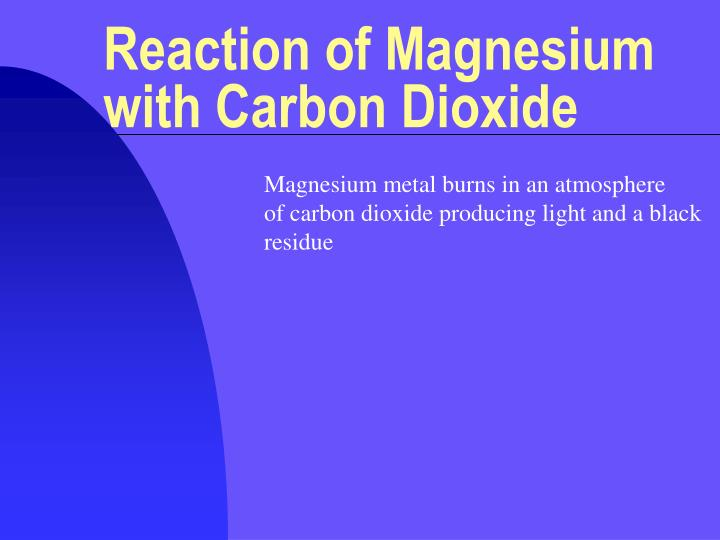 reaction of magnesium with carbon dioxide n.