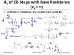 a v of cb stage with base resistance v a