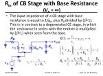 r in of cb stage with base resistance v a
