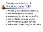 overrepresentation of minorities under idea