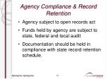 agency compliance record retention