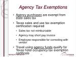 agency tax exemptions