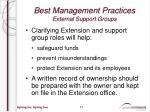 best management practices external support groups3