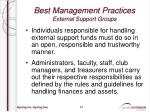 best management practices external support groups5