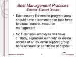 best management practices external support groups7