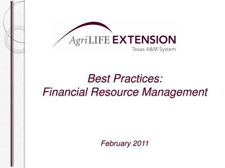 best practices financial resource management february 2011 n.