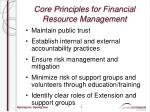 core principles for financial resource management