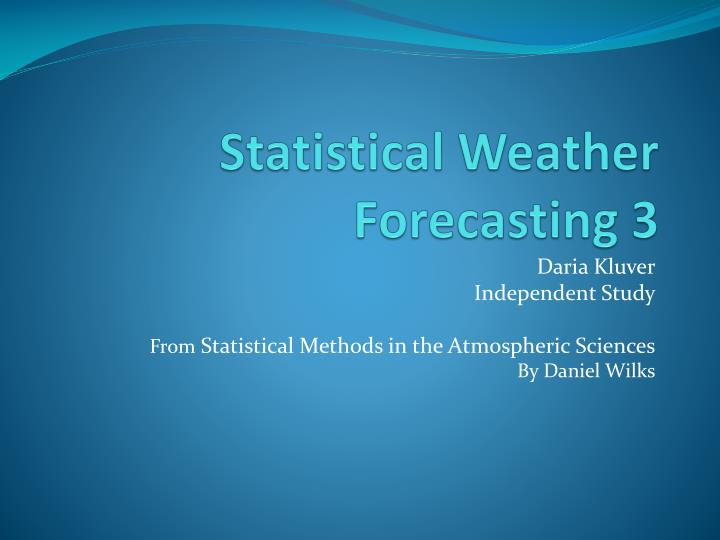 statistical weather forecasting 3 n.