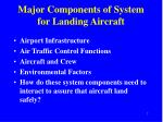 major components of system for landing aircraft