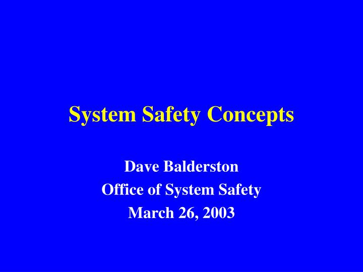 system safety concepts n.